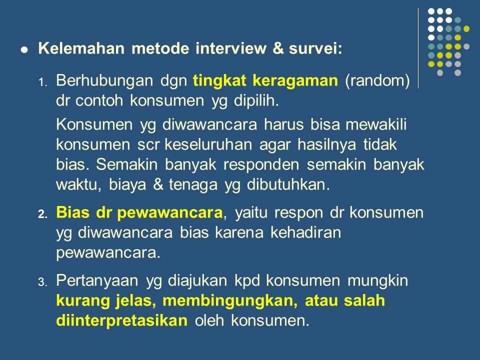 Kelemahan metode interview & survei: