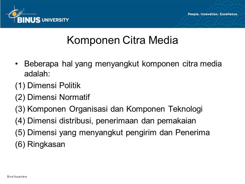 Komponen Citra Media Beberapa hal yang menyangkut komponen citra media adalah: (1) Dimensi Politik.