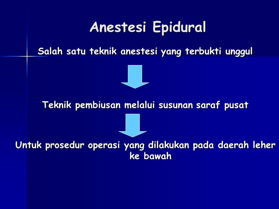 Anestesi Epidural Salah satu teknik anestesi yang terbukti unggul