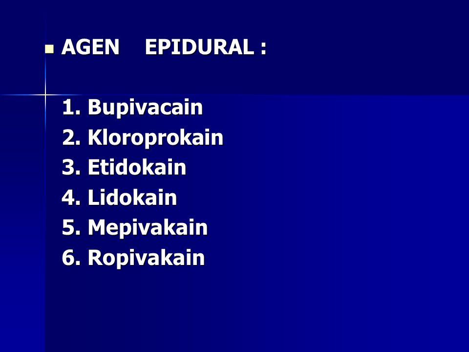 AGEN EPIDURAL : 1. Bupivacain. 2. Kloroprokain.