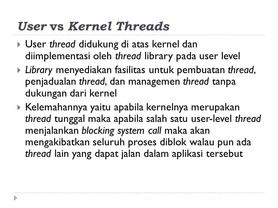 User vs Kernel Threads User thread didukung di atas kernel dan diimplementasi oleh thread library pada user level.