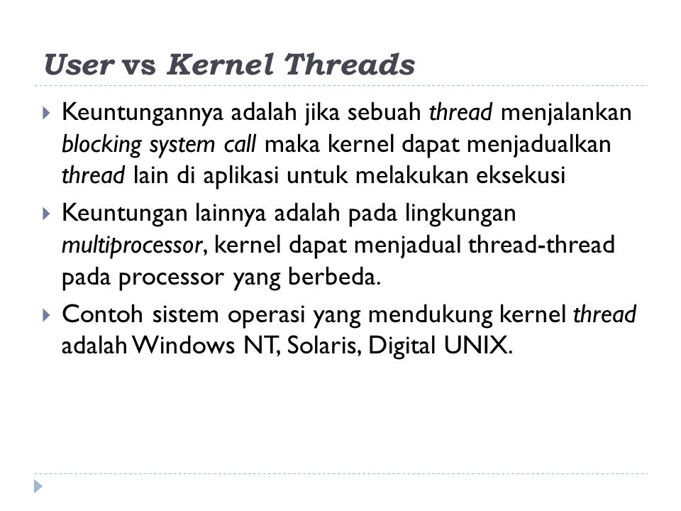 User vs Kernel Threads