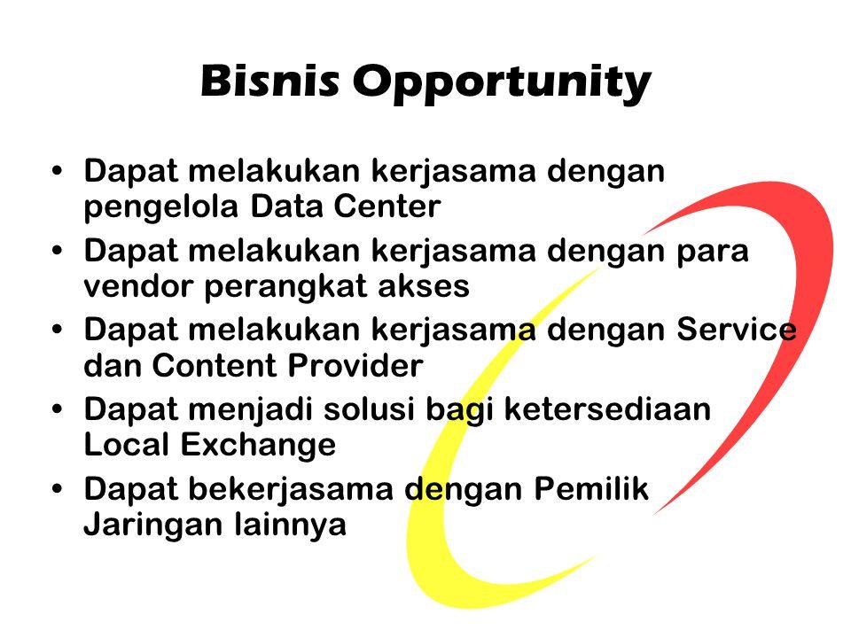 Bisnis Opportunity Dapat melakukan kerjasama dengan pengelola Data Center. Dapat melakukan kerjasama dengan para vendor perangkat akses.