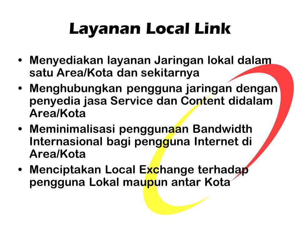 Layanan Local Link Menyediakan layanan Jaringan lokal dalam satu Area/Kota dan sekitarnya.