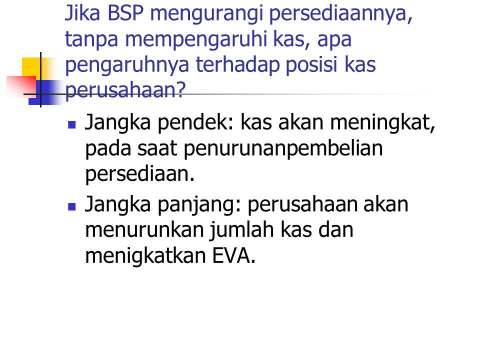Jika BSP mengurangi persediaannya, tanpa mempengaruhi kas, apa pengaruhnya terhadap posisi kas perusahaan