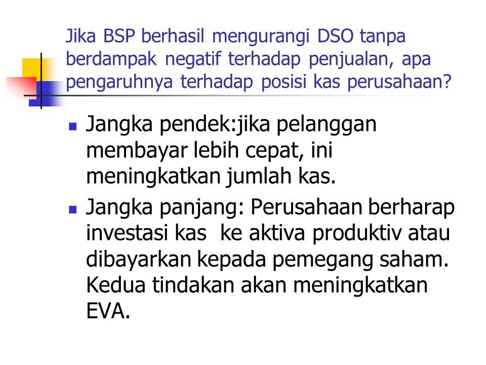 Jika BSP berhasil mengurangi DSO tanpa berdampak negatif terhadap penjualan, apa pengaruhnya terhadap posisi kas perusahaan