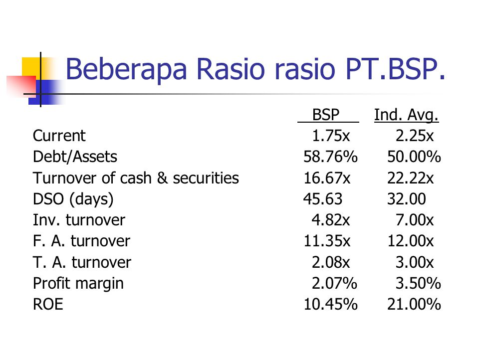 Beberapa Rasio rasio PT.BSP.