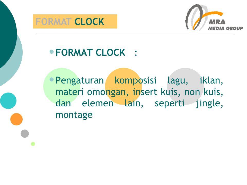 FORMAT CLOCK FORMAT CLOCK : Pengaturan komposisi lagu, iklan, materi omongan, insert kuis, non kuis, dan elemen lain, seperti jingle, montage.