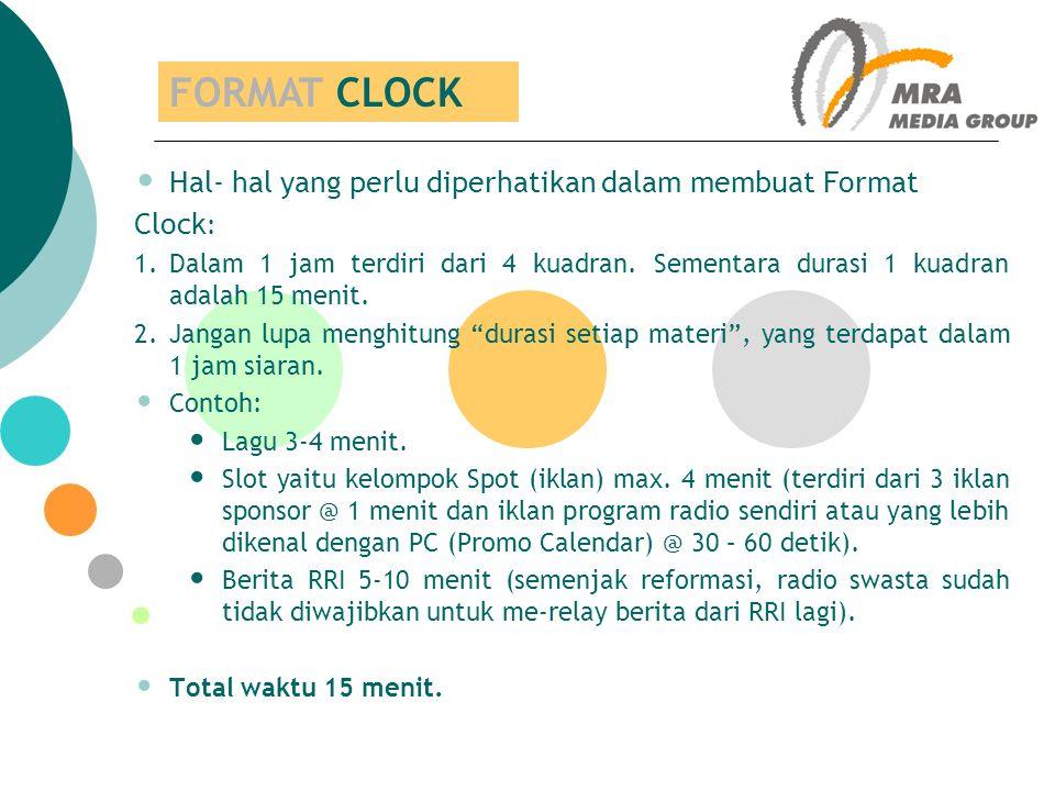 FORMAT CLOCK Hal- hal yang perlu diperhatikan dalam membuat Format