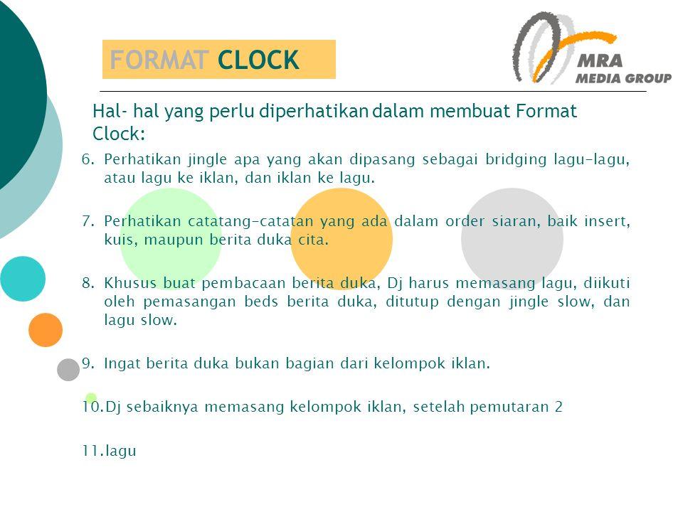 FORMAT CLOCK Hal- hal yang perlu diperhatikan dalam membuat Format Clock: