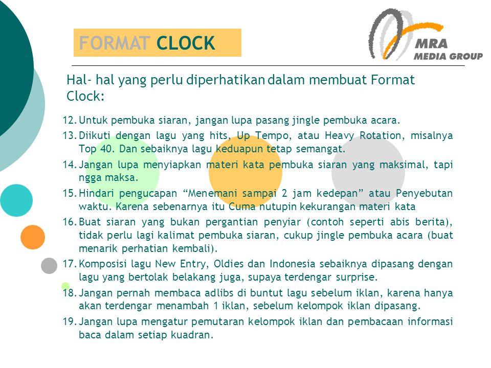 FORMAT CLOCK Hal- hal yang perlu diperhatikan dalam membuat Format Clock: Untuk pembuka siaran, jangan lupa pasang jingle pembuka acara.