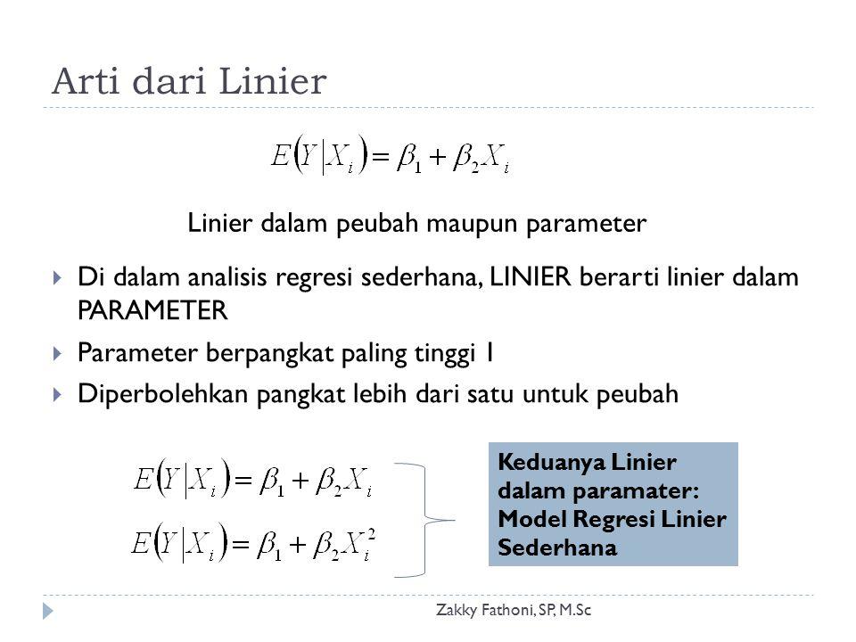 Arti dari Linier Linier dalam peubah maupun parameter