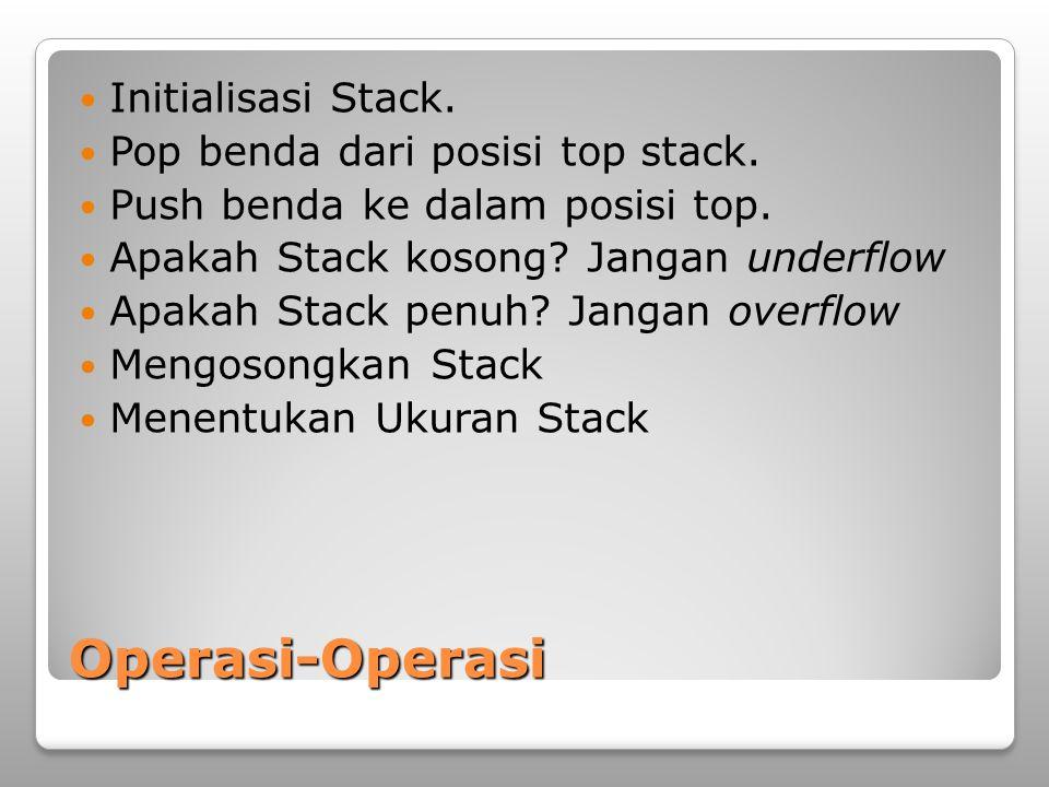 Operasi-Operasi Initialisasi Stack. Pop benda dari posisi top stack.