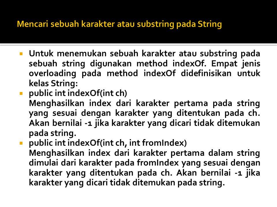 Mencari sebuah karakter atau substring pada String