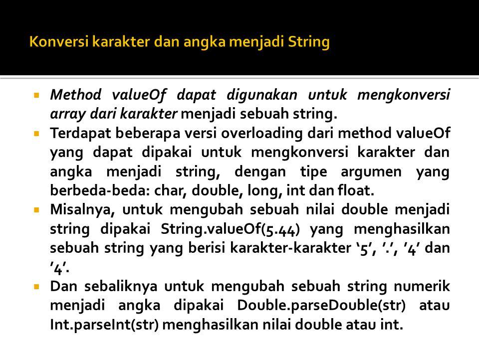 Konversi karakter dan angka menjadi String