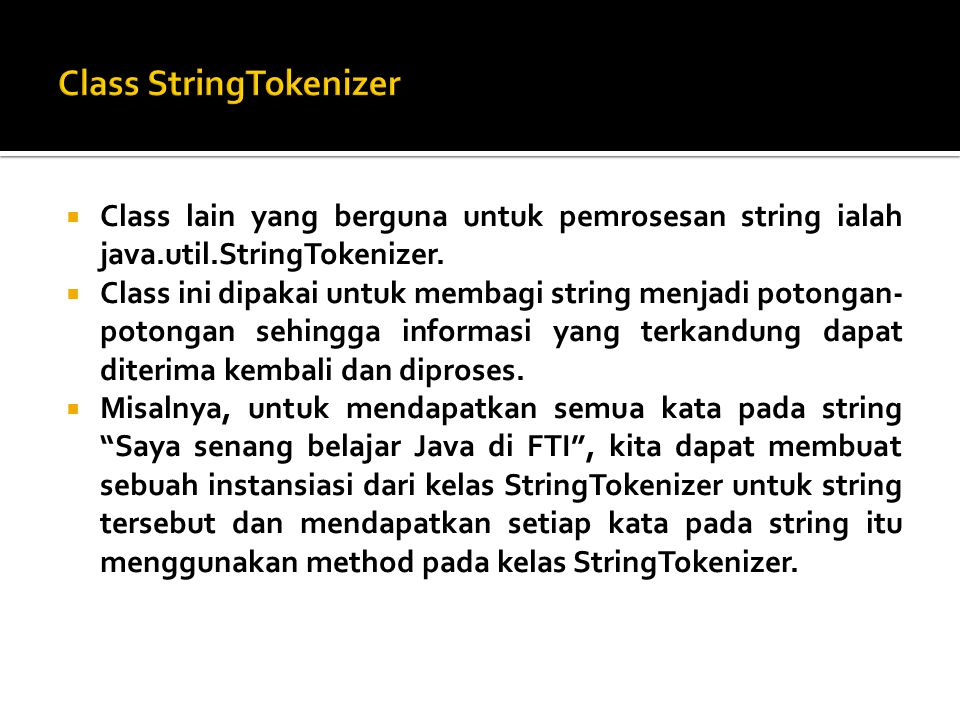 Class StringTokenizer