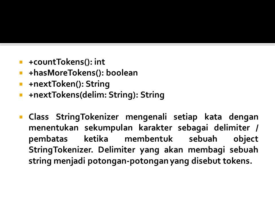 +countTokens(): int +hasMoreTokens(): boolean. +nextToken(): String. +nextTokens(delim: String): String.