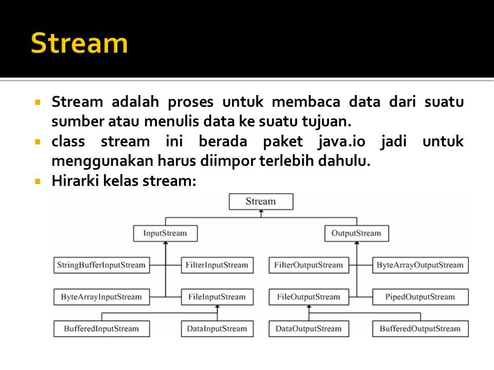 Stream Stream adalah proses untuk membaca data dari suatu sumber atau menulis data ke suatu tujuan.