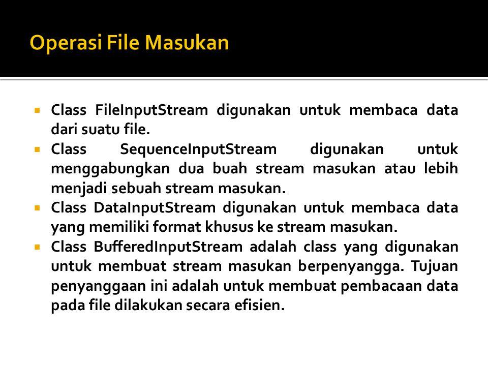 Operasi File Masukan Class FileInputStream digunakan untuk membaca data dari suatu file.