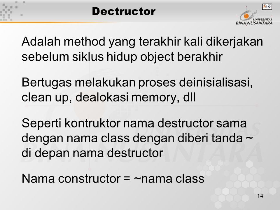 Nama constructor = ~nama class