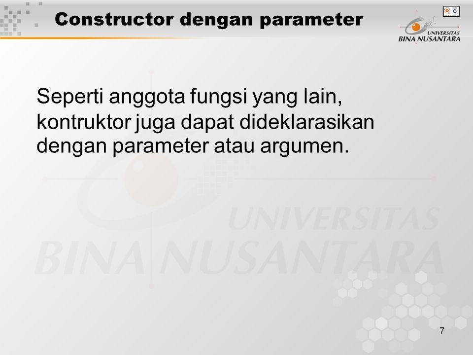 Constructor dengan parameter