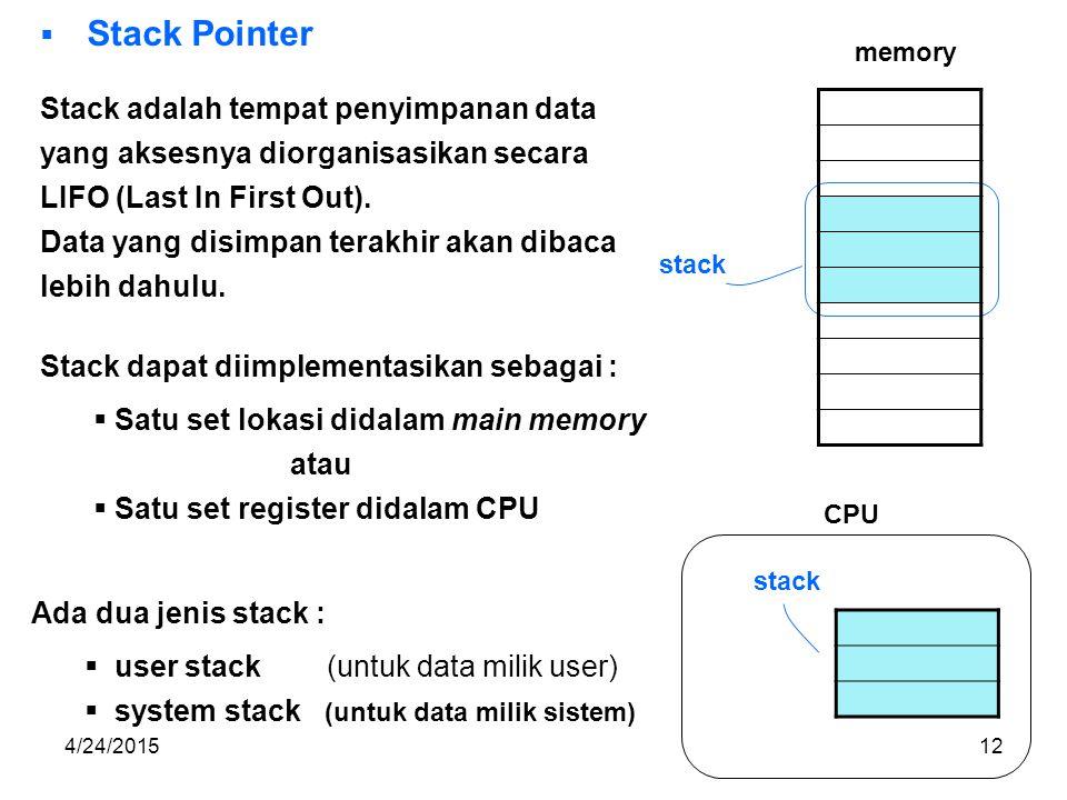 Stack adalah tempat penyimpanan data