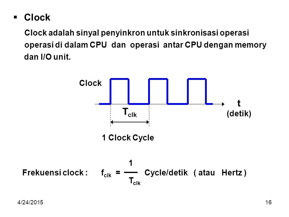 Clock t Tclk Clock adalah sinyal penyinkron untuk sinkronisasi operasi