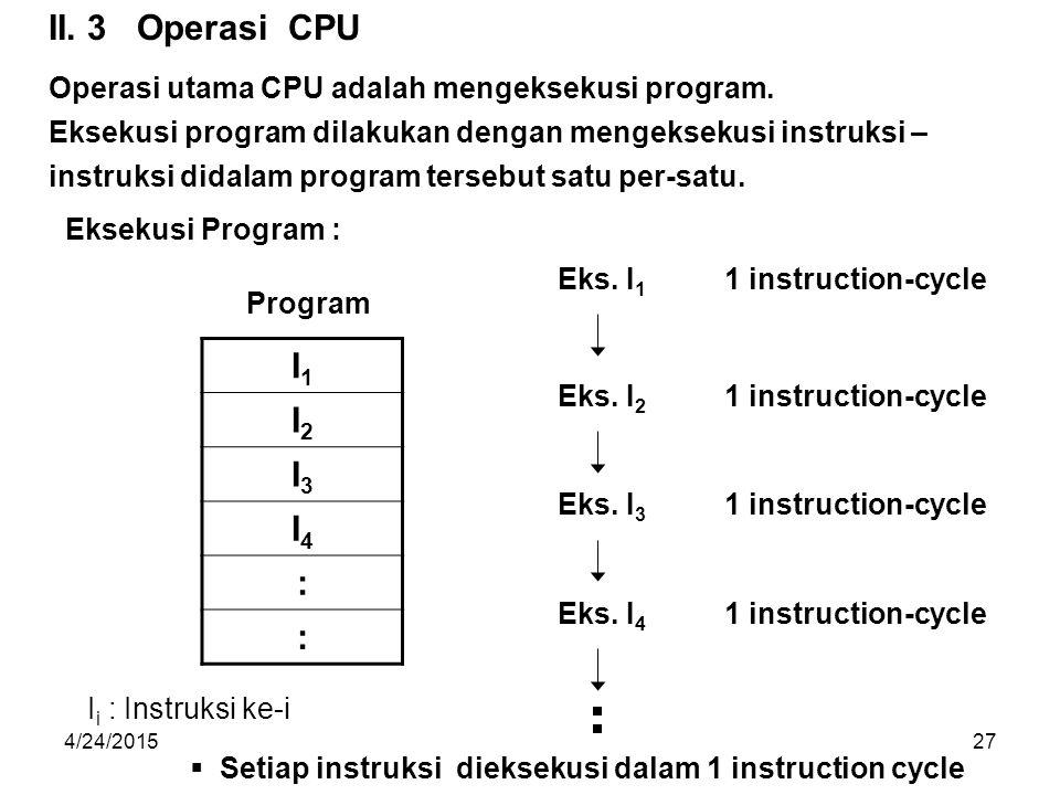 II. 3 Operasi CPU Operasi utama CPU adalah mengeksekusi program. Eksekusi program dilakukan dengan mengeksekusi instruksi –