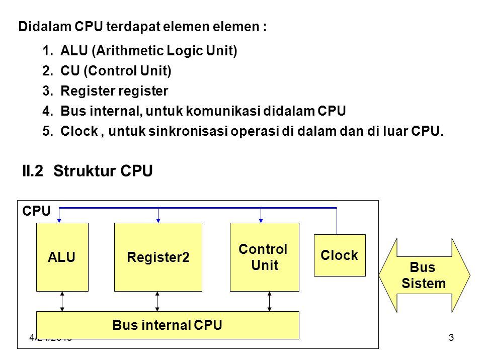 II.2 Struktur CPU Didalam CPU terdapat elemen elemen :