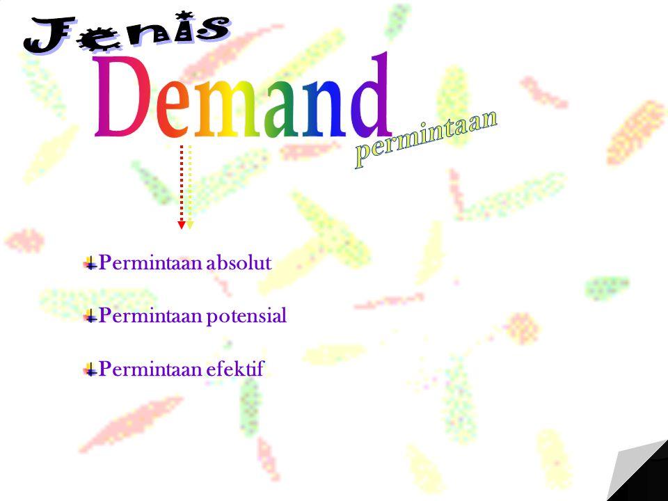 Demand Jenis permintaan Permintaan absolut Permintaan potensial