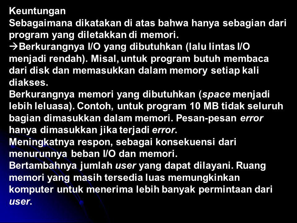 Keuntungan Sebagaimana dikatakan di atas bahwa hanya sebagian dari program yang diletakkan di memori.