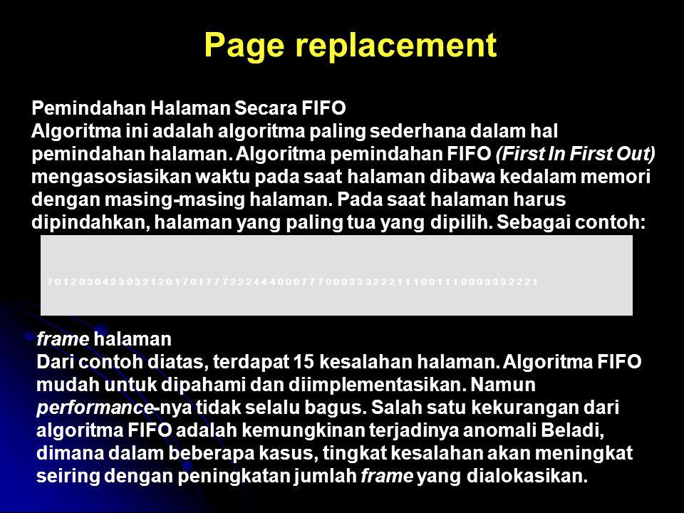 Page replacement Pemindahan Halaman Secara FIFO