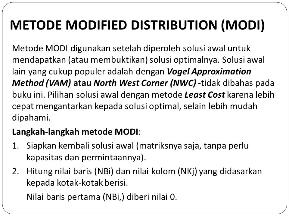 METODE MODIFIED DISTRIBUTION (MODI)