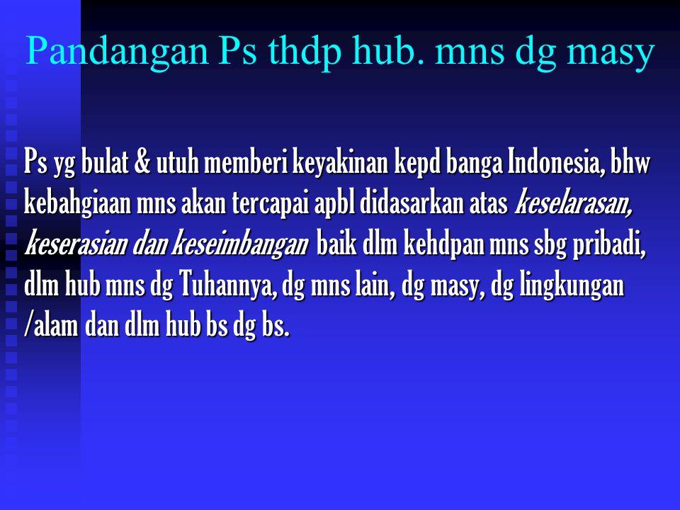 Pandangan Ps thdp hub. mns dg masy