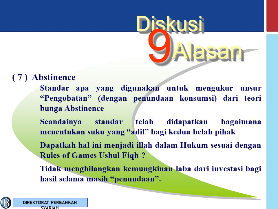 9 Alasan Diskusi ( 7 ) Abstinence