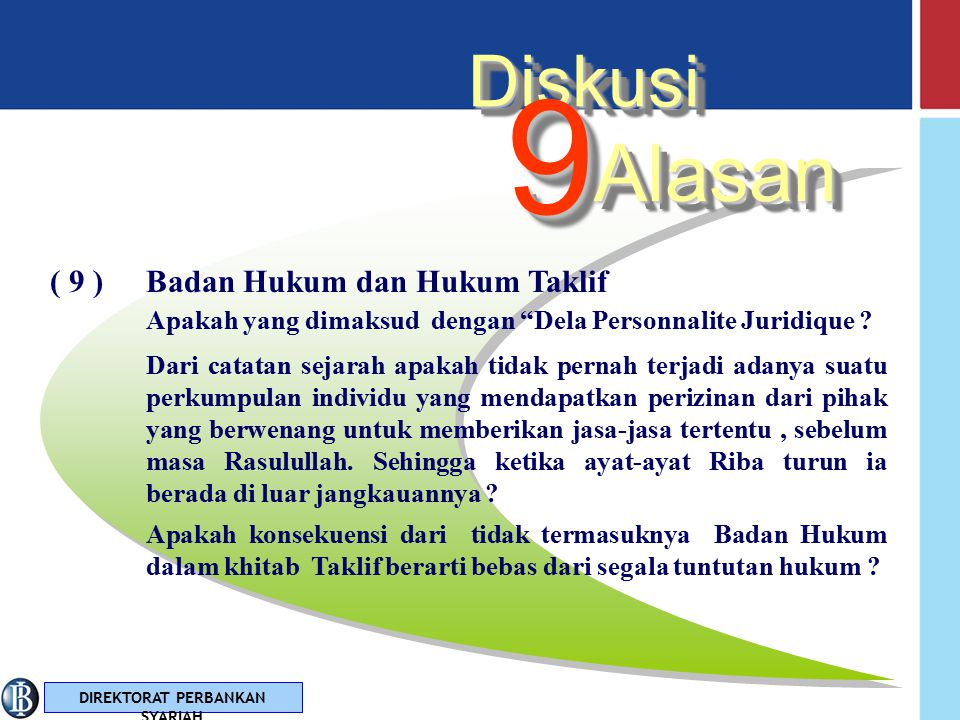 9 Alasan Diskusi ( 9 ) Badan Hukum dan Hukum Taklif
