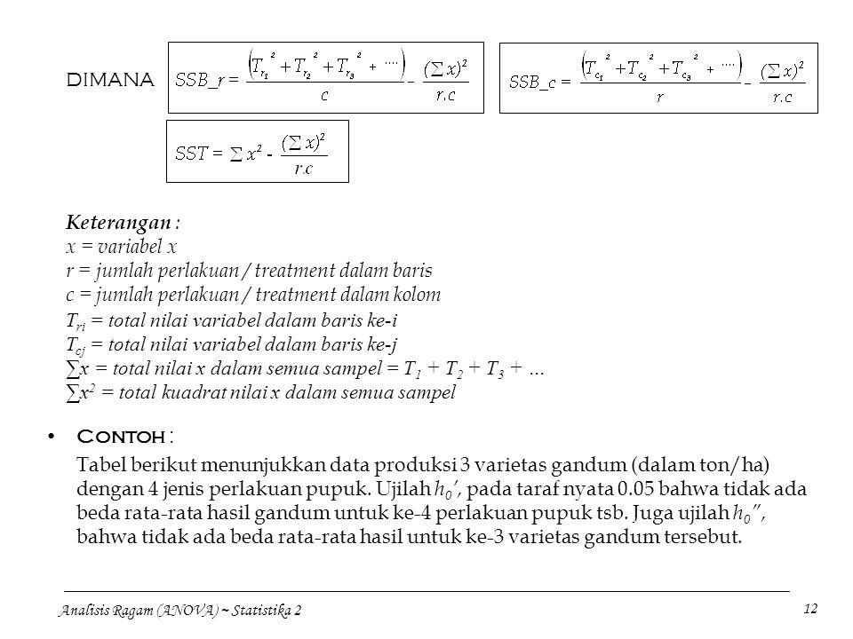 DIMANA Keterangan : x = variabel x. r = jumlah perlakuan / treatment dalam baris. c = jumlah perlakuan / treatment dalam kolom.