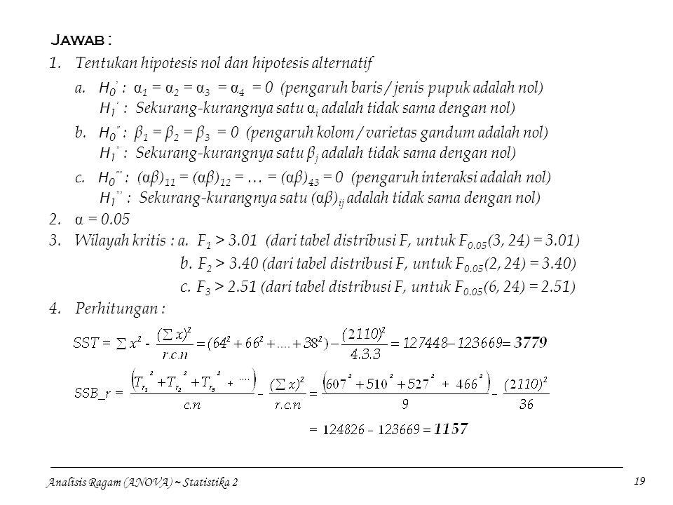 b. F2 > 3.40 (dari tabel distribusi F, untuk F0.05(2, 24) = 3.40)