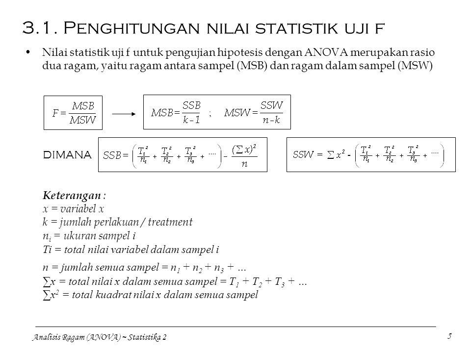3.1. Penghitungan nilai statistik uji f