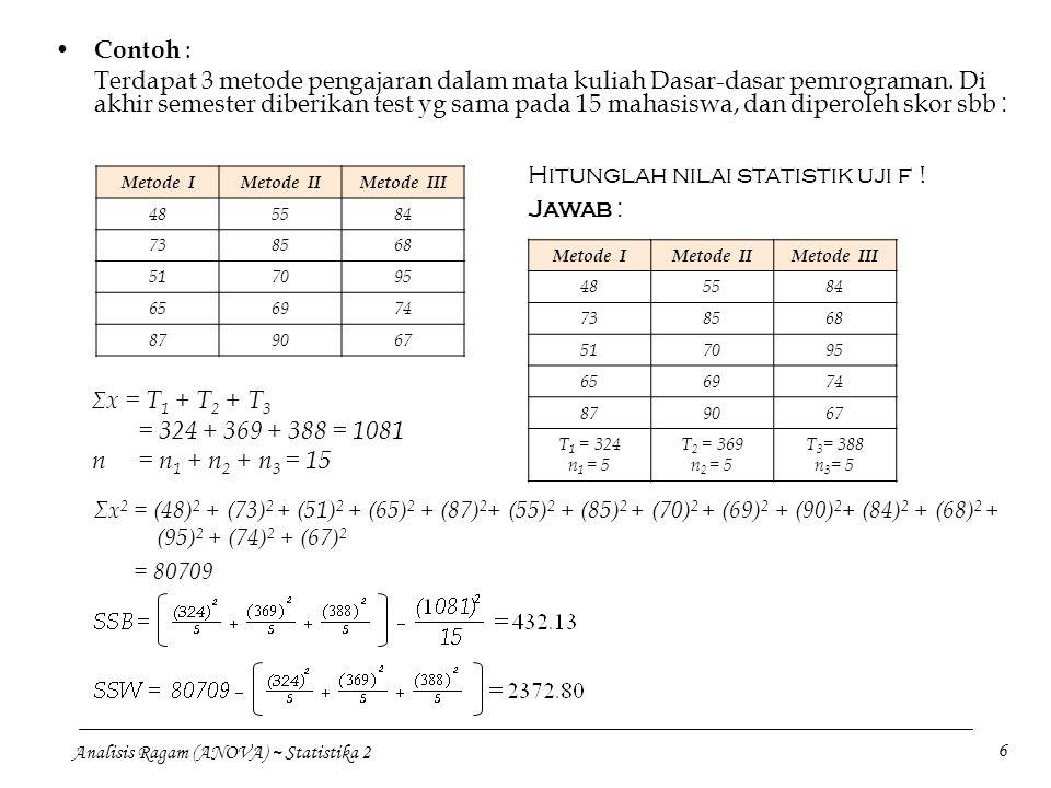 Hitunglah nilai statistik uji f ! Jawab :