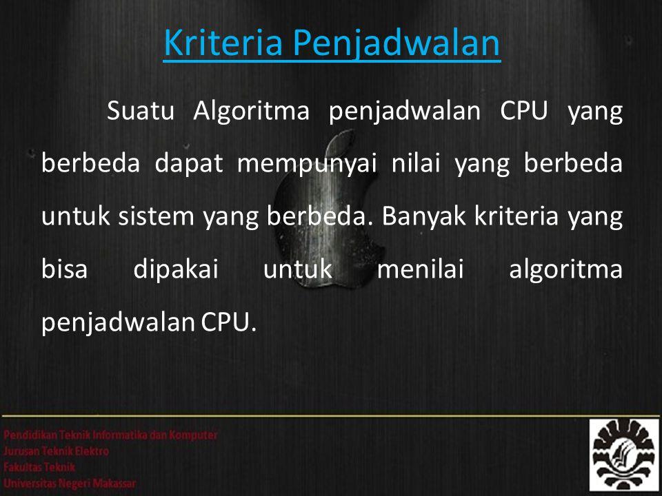 Kriteria Penjadwalan