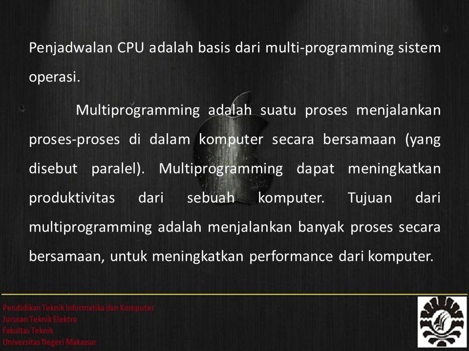 Penjadwalan CPU adalah basis dari multi-programming sistem operasi