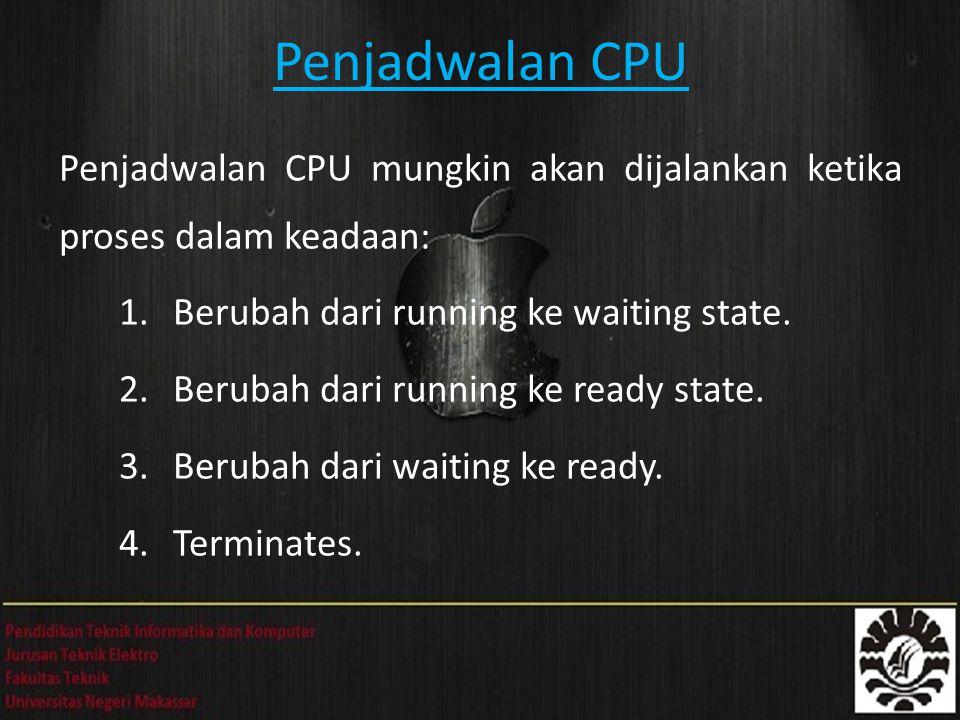 Penjadwalan CPU Penjadwalan CPU mungkin akan dijalankan ketika proses dalam keadaan: Berubah dari running ke waiting state.