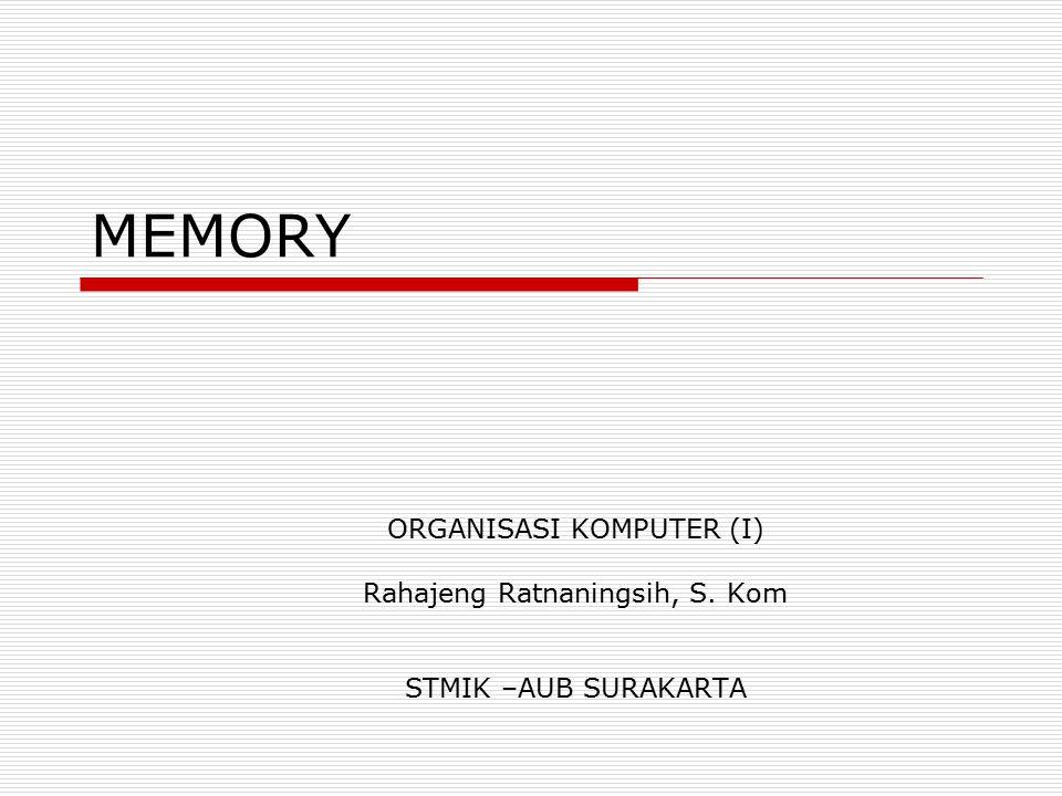 MEMORY ORGANISASI KOMPUTER (I) Rahajeng Ratnaningsih, S. Kom