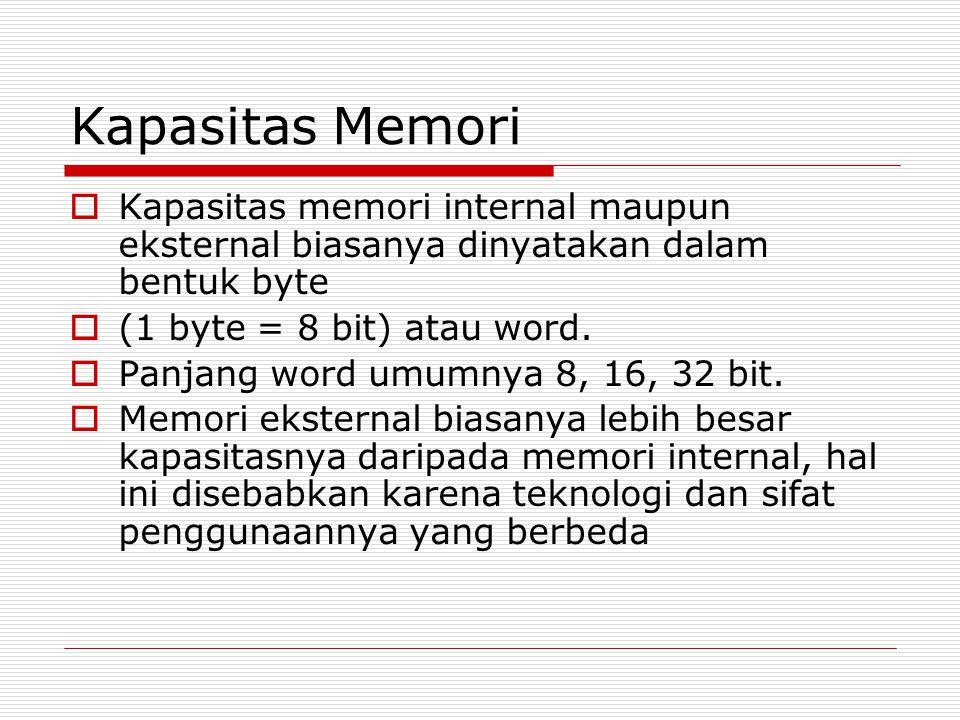 Kapasitas Memori Kapasitas memori internal maupun eksternal biasanya dinyatakan dalam bentuk byte. (1 byte = 8 bit) atau word.