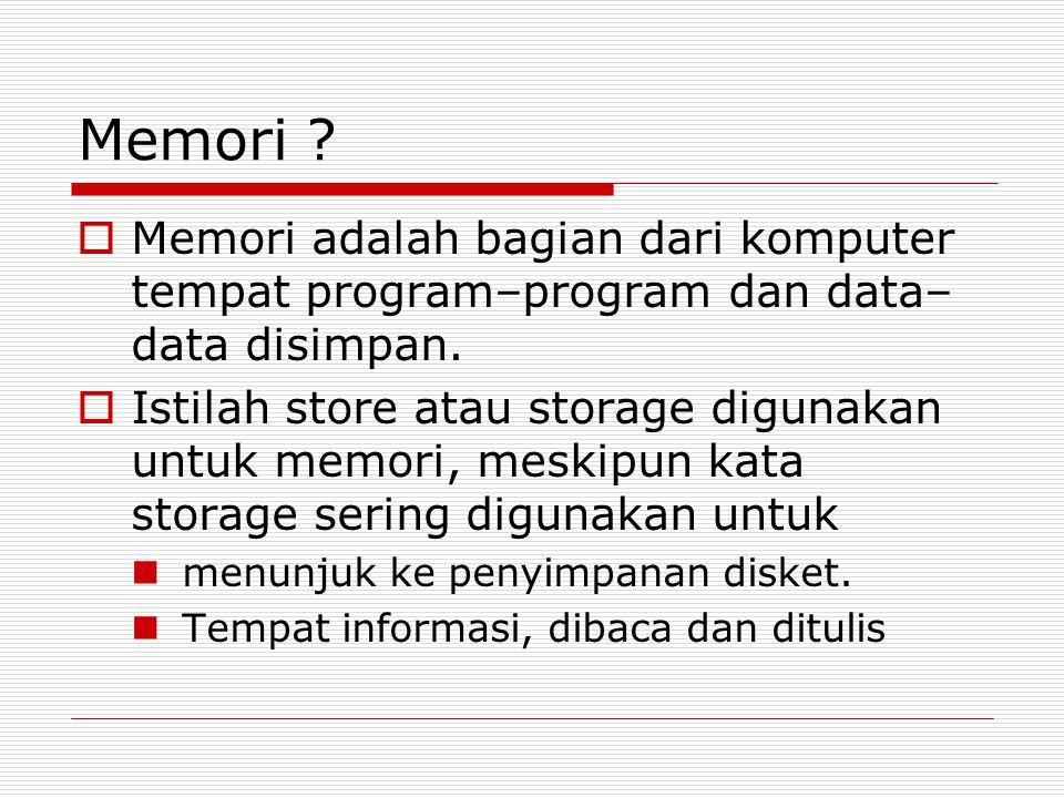 Memori Memori adalah bagian dari komputer tempat program–program dan data–data disimpan.
