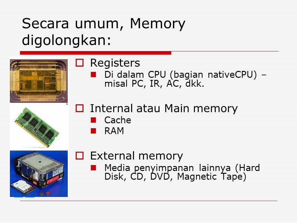 Secara umum, Memory digolongkan: