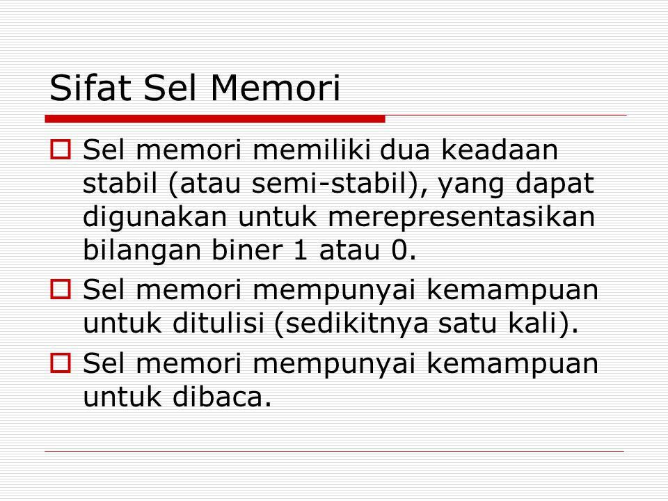 Sifat Sel Memori Sel memori memiliki dua keadaan stabil (atau semi-stabil), yang dapat digunakan untuk merepresentasikan bilangan biner 1 atau 0.