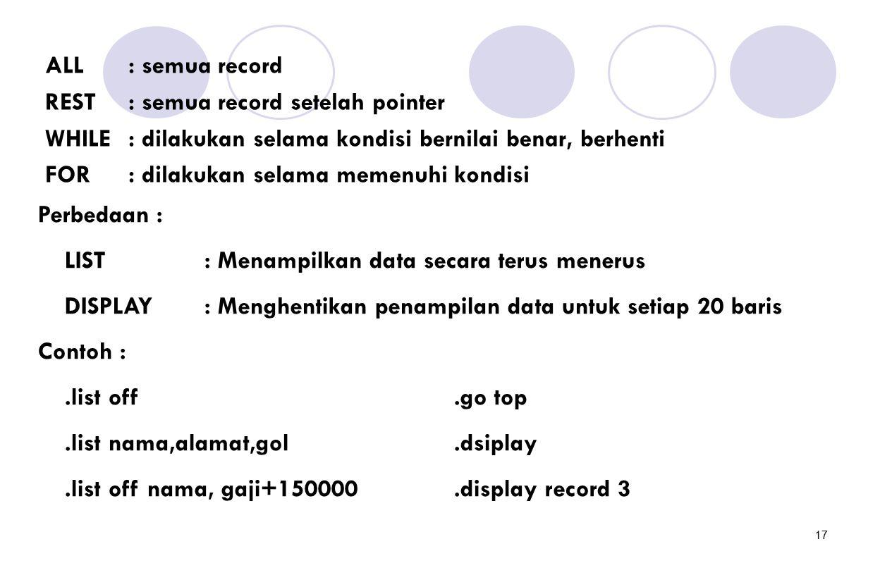 ALL : semua record REST : semua record setelah pointer. WHILE : dilakukan selama kondisi bernilai benar, berhenti.