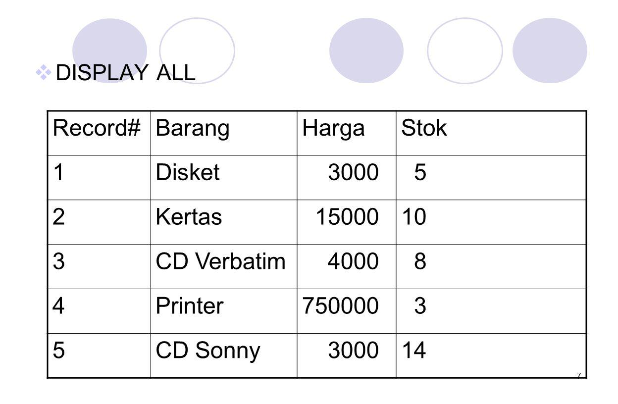 Record# Barang Harga Stok 1 Disket 3000 5 2 Kertas 15000 10 3